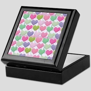 Gingham Hearts Pastel Pattern Keepsake Box