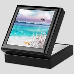 Beach and Ocean  Dancing Dolphins Keepsake Box