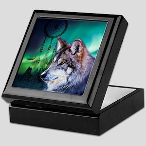 dream catcher northern light wolf Keepsake Box
