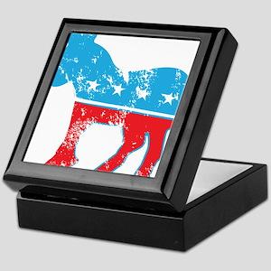 Democrat Donkey (Grunge Texture) Keepsake Box