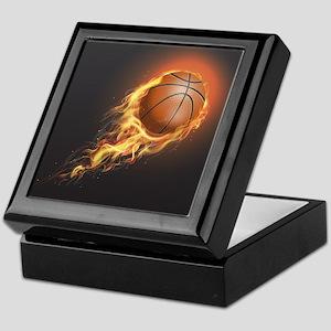 Flaming Basketball Keepsake Box