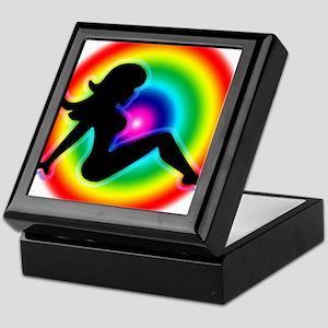 Rainbow Trucker Girl Keepsake Box