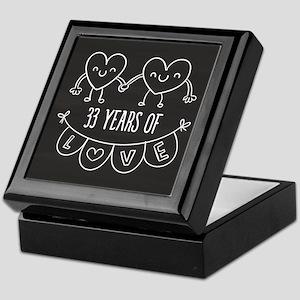 33rd Anniversary Gift Chalkboard Hear Keepsake Box