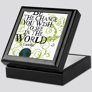 bethechange_earth_white Keepsake Box