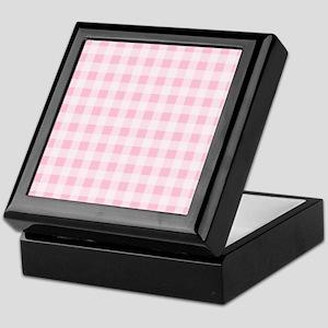 Pink Gingham Checkered Pattern Keepsake Box