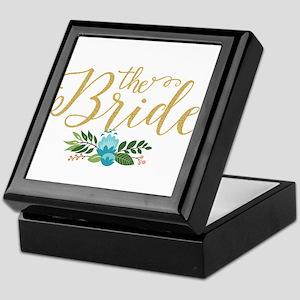 The Bride-Modern Text Design Gold Gli Keepsake Box
