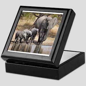 Elephant mom and babies Keepsake Box
