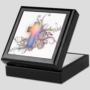 Swirls N Cross Keepsake Box