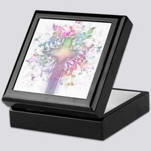 Rainbow Floral Cross Keepsake Box