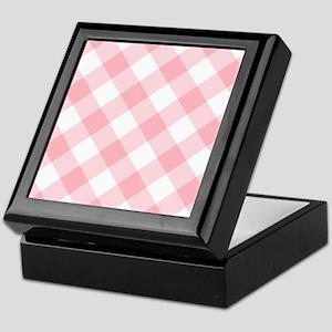 Light Pink and White Gingham Keepsake Box