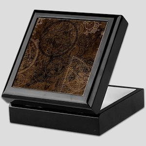 Clockwork Collage Brown Keepsake Box
