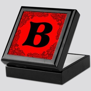 Red Personalized Monogram Initial Keepsake Box