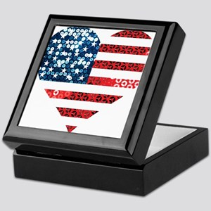 usa flag heart Keepsake Box