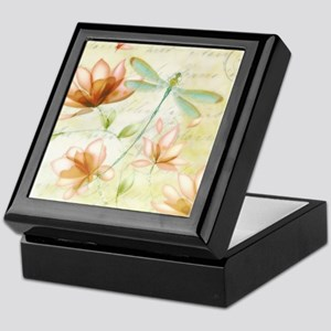 Pink flowers and dragonfly Keepsake Box