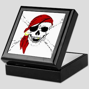 Pirate Skull and Bones, Red Bandanna Keepsake Box