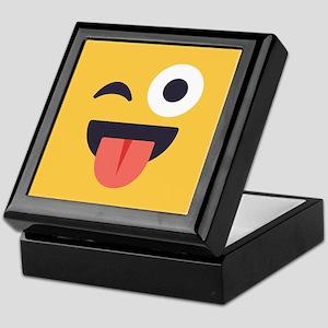 Winky Tongue Emoji Face Keepsake Box