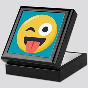 Winky Tongue Emoji Keepsake Box