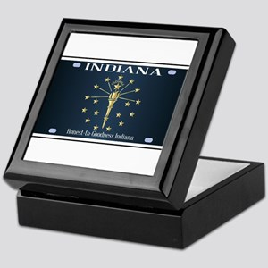 Indiana Flag License Plate Keepsake Box