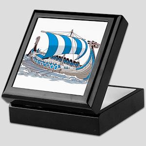 Blue Viking Ship Keepsake Box