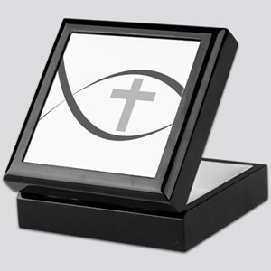 jesus fish_reverse Keepsake Box