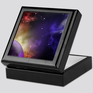 Universe with Planet and Stars Keepsake Box