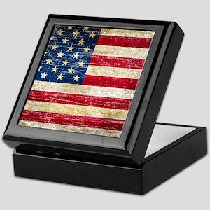 Faded American Flag Keepsake Box