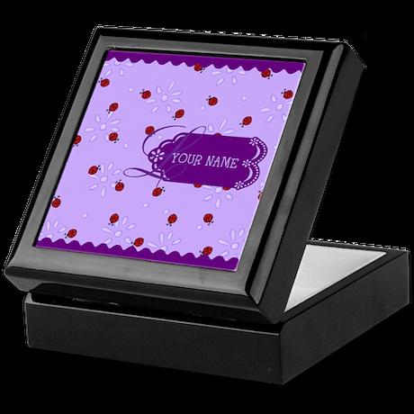 Lavender Purple Lady Bug Monogram Keepsake Box