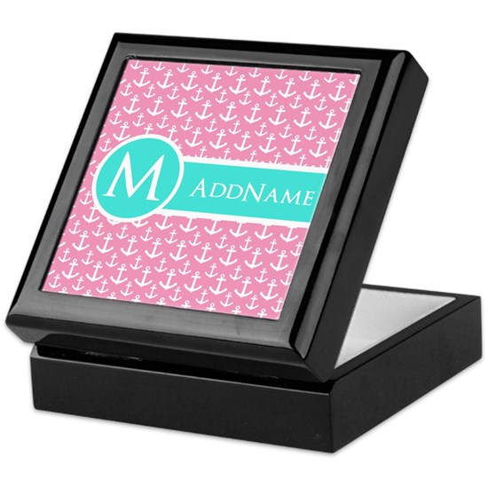 Aqua and Pink Anchor Pattern Personalized