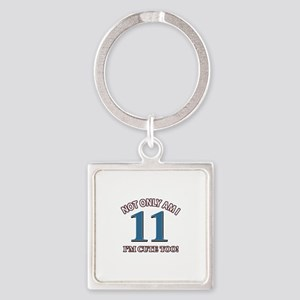 11 year old birthday designs Square Keychain