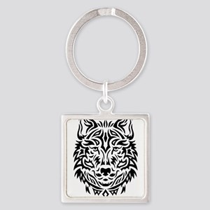 wolf tribal tattoo Keychains