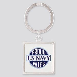 Proud US Navy Wife Square Keychain