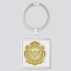 Chief of Police 3d Metallic Square Keychain