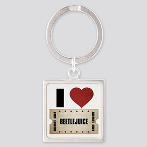 I Heart Beetlejuice Ticket Square Keychain