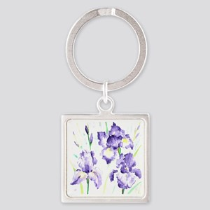 Watercolor Abstract Iris Pattern Square Keychain
