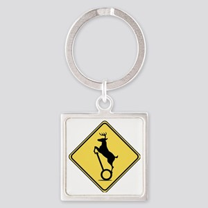 Deer on Scooter Crossing Square Keychain