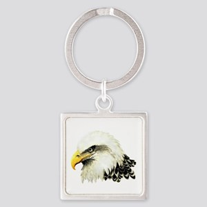 Watercolor Bald Eagle Bird Square Keychain