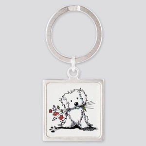 KiniArt Maltese Garden Helper Square Keychain