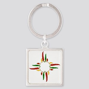 Chile pepper zia symbol Square Keychain