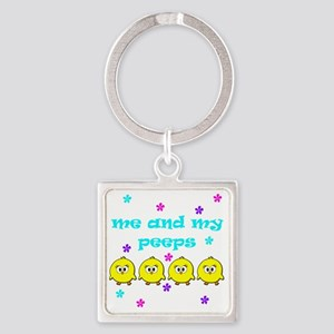 ME AND MY PEEPS - D TEAL Square Keychain