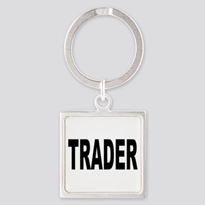Trader10x10-Black Square Keychain