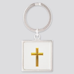 Golden Cross 2 Square Keychain