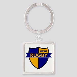 Rugby Shield Blue Gold Square Keychain