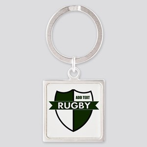 Rugby Shield White Green Square Keychain