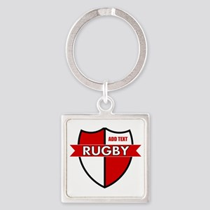 Rugby Shield White Red Square Keychain