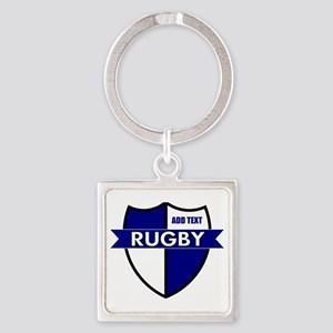 Rugby Shield White Blue Square Keychain