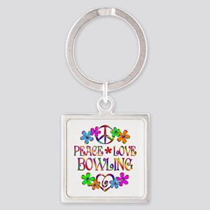 Peace Love Bowling Square Keychain