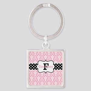 Pink Black Damask Dots Personalized Keychains