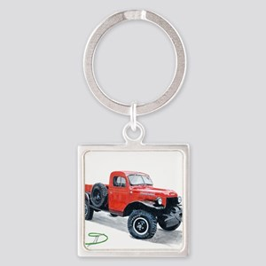 Antique Power Wagon Square Keychain