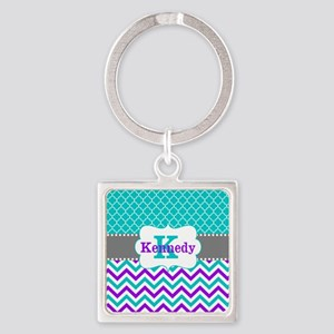 Teal Purple Quatrefoil Chevron Personalized Keycha