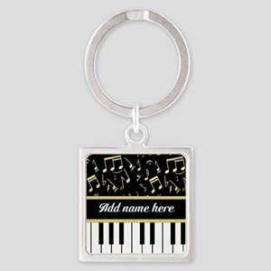Personalized Piano and musical notes Square Keycha